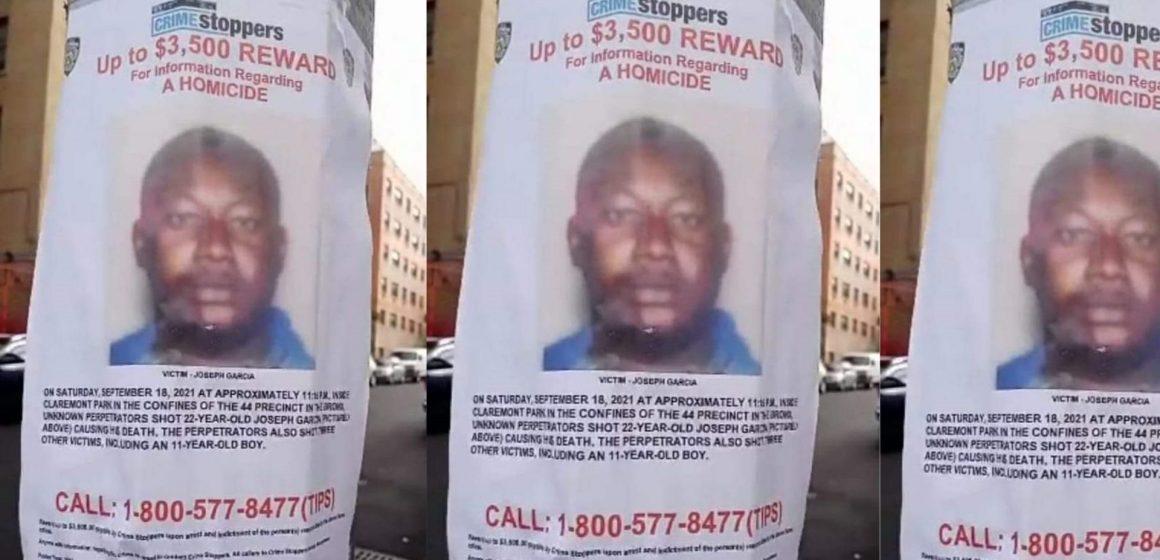 Policía de Nueva York ofrece recompensa por información sobre tiroteo del pasado sábado